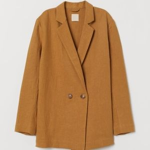 H&M Linen Blend Double Breasted Blazer 8